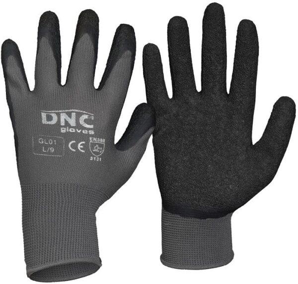 Lite Textured Latex Palm Safety Gloves -GL01 - Black/Grey