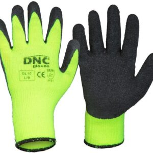Warmer Black Textured Latex Palm Safety Gloves - GL10 - Black/HiVis Yellow