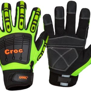 CROC Safety Gloves for  Medium/ Heavy Duty Handling - GM12 - HiVis Yellow/Black