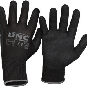 Nitrile Coated Palm and Fingers with Sandy Finish General Purpose Safety Gloves - GN08 - Black/Black