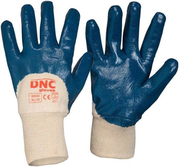 Blue Nitrile 3/4 Dip Wet or Liquid Handling Safety Gloves - GN32 - Blue/Nature
