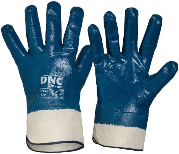 Blue Nitrile Full Dip Safety Gloves with Canvas Cuff - GN34 - Blue/Nature