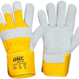 Yellow Canvas Premium Grey Suede Leather Safety Gloves - GR25 -