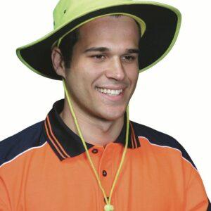 Hi Vis 100% Polyester Wide Brim Hat - H024 - Orange