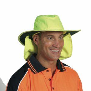 Hi Vis 100% Polyester Wide Brim Hat with Flap - H055 - Orange