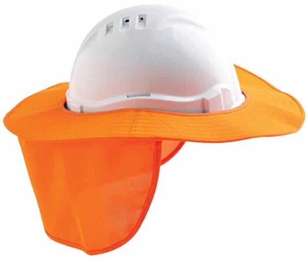 Detachable Hard Hat Brim with Back Flap - PHHB - Fluoro Orange