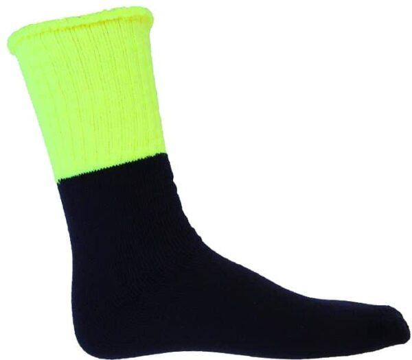 Hi Vis 3 Pair Pack Two Tone Woolen Socks.  75% Wool
