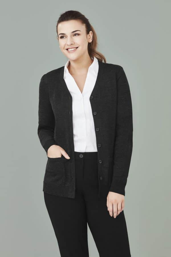 Ladies Button Front Cardigan - Charcoal