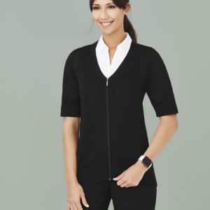 Ladies Short Sleeve Zip Front Cardigan - Black