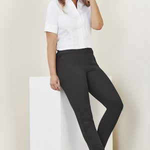 Ladies Jane Ankle Length Stretch Pants - Charcoal