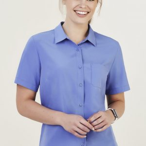 Ladies Short Sleeve Florence Shirt - Mid Blue