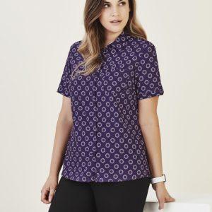 Ladies Short Sleeve Florence Daisy Print Shirt - Purple
