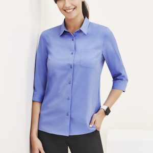Ladies 3/4 Sleeve Florence Shirt - Mid Blue