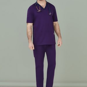 Mens Riley Straight Scrub Pants - Purple