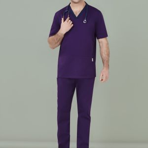 Mens Riley V-Neck Scrub Top - Purple