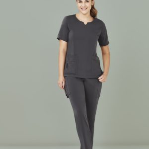 Ladies Avery Tailored Fit Round Neck Scrub Top - Charcoal