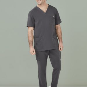 Mens Avery V-Neck Scrub Top - Charcoal